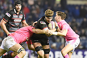 James Ritchie under pressure during the European Rugby Challenge Cup match between Edinburgh Rugby and Stade Francais at Murrayfield Stadium, Edinburgh, Scotland on 12 January 2018. Photo by Kevin Murray.
