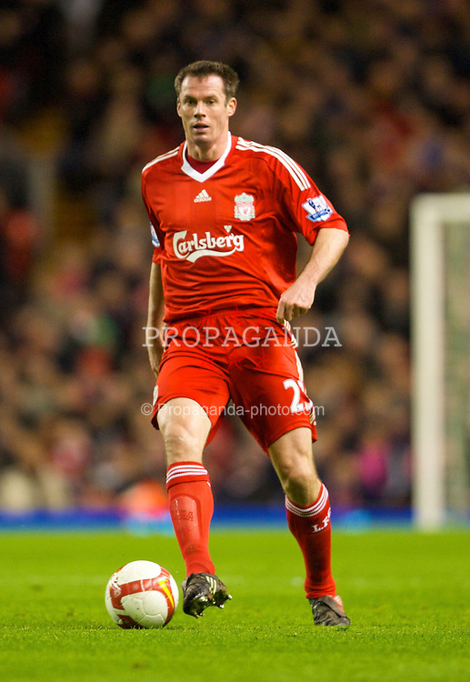 LIVERPOOL, ENGLAND - Tuesday, March 3, 2009: Liverpool's Jamie Carragher in action against Sunderland during the Premiership match at Anfield. (Photo by David Rawcliffe/Propaganda)