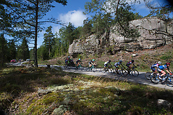 The peloton is stretched out on a narrow forest road on Stage 3 of the Ladies Tour of Norway - a 156.6 km road race, between Svinesund (SE) and Halden on August 20, 2017, in Ostfold, Norway. (Photo by Balint Hamvas/Velofocus.com)
