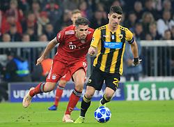 07.11.2018, Champions League, FC Bayern vs AEK Athen, Allianz Arena  Muenchen,  Fussball, Sport, im Bild:...Javier Martinez (FCB) vs Petros Mantalos ( AEK Athen )..DFL REGULATIONS PROHIBIT ANY USE OF PHOTOGRAPHS AS IMAGE SEQUENCES AND / OR QUASI VIDEO...Copyright: Philippe Ruiz..Tel: 089 745 82 22.Handy: 0177 29 39 408.e-Mail: philippe_ruiz@gmx.de. (Credit Image: © Philippe Ruiz/Xinhua via ZUMA Wire)