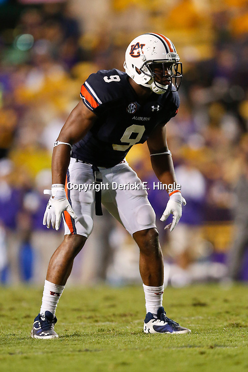 Sep 21, 2013; Baton Rouge, LA, USA; Auburn Tigers defensive back Jermaine Whitehead (9) against the LSU Tigers during the second half of a game at Tiger Stadium. LSU defeated Auburn 35-21. Mandatory Credit: Derick E. Hingle-USA TODAY Sports