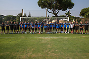The Forest Green Rovers players and staff during the Forest Green Rovers Training session at Browns Sport and Leisure Club, Vilamoura, Portugal on 25 July 2017. Photo by Shane Healey.
