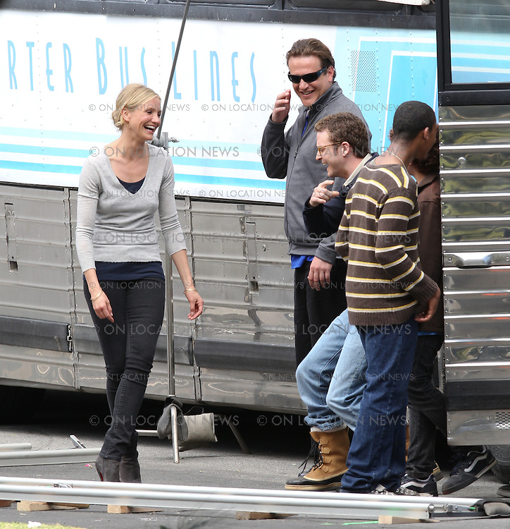 """April 7th, 2010. Los Angeles, California. Non Exclusive. Cameron Diaz and Justin Timberlake film a scene together for """"Bad Teacher"""". In the scene Cameron Diaz, Justin Timberlake and Jason Segal are all  teachers bringing their classes on a field trip. In between takes Cameron and Justin were seen laughing and joking around. These are the first candid photos of Cameron and Justin together on set. Filming took place at the Santa Fe Dam Recreational Area outside of Los Angeles. Photo by Eric Ford/ On Location News. 818-613-3955 info@onlocationnews.com"""