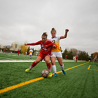 1st year Kyra Vibert (23) of the Regina Cougars in action during the Women's Soccer Home Game on October 21 at U of R Field. Credit Arthur Ward/Arthur Images
