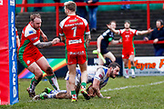 Workington Town second row Gordon Maudling (18) scores a try during the Betfred League 1 match between Keighley Cougars and Workington Town at Cougar Park, Keighley, United Kingdom on 18 February 2018. Picture by Simon Davies.