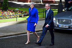 Prime Minister Theresa May arrives back at number 10 Downing Street, London, on her way to an audience with the Queen. Picture date: Friday June 9th, 2017. Photo credit should read: Matt Crossick/ EMPICS Entertainment.