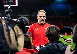 Alun Wyn Jones of Wales being interviewed ahead of the captains run<br /> <br /> Photographer Simon King/Replay Images<br /> <br /> Six Nations Round 1 - Wales v Italy -  Captains Run - Friday 31st January 2020 - Principality Stadium - Cardiff<br /> <br /> World Copyright © Replay Images . All rights reserved. info@replayimages.co.uk - http://replayimages.co.uk