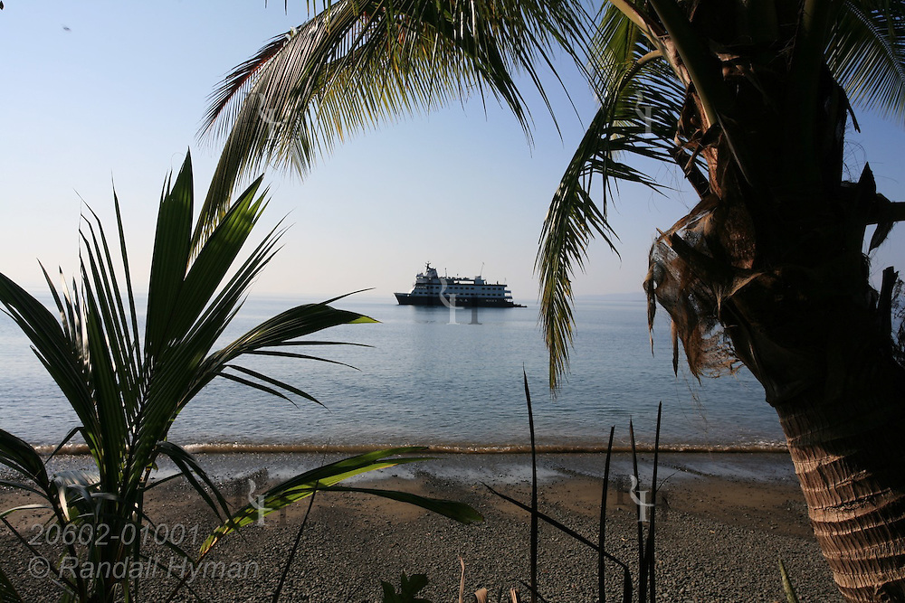 Palm trees frame Cruise West's ship Pacific Explorer at Casa Orquideas on Golfo Dulce, Costa Rica.