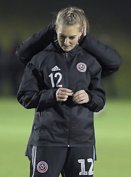 February 20, 2019 - Sheffield, United Kingdom - Last minute adjustments to hair for Sheffield Uniteds Holly Barker ahead of the  FA Women's Championship football match between Sheffield United Women and Manchester United Women at the Olympic Legacy Stadium, on February 20th Sheffield, England. (Credit Image: © Action Foto Sport/NurPhoto via ZUMA Press)