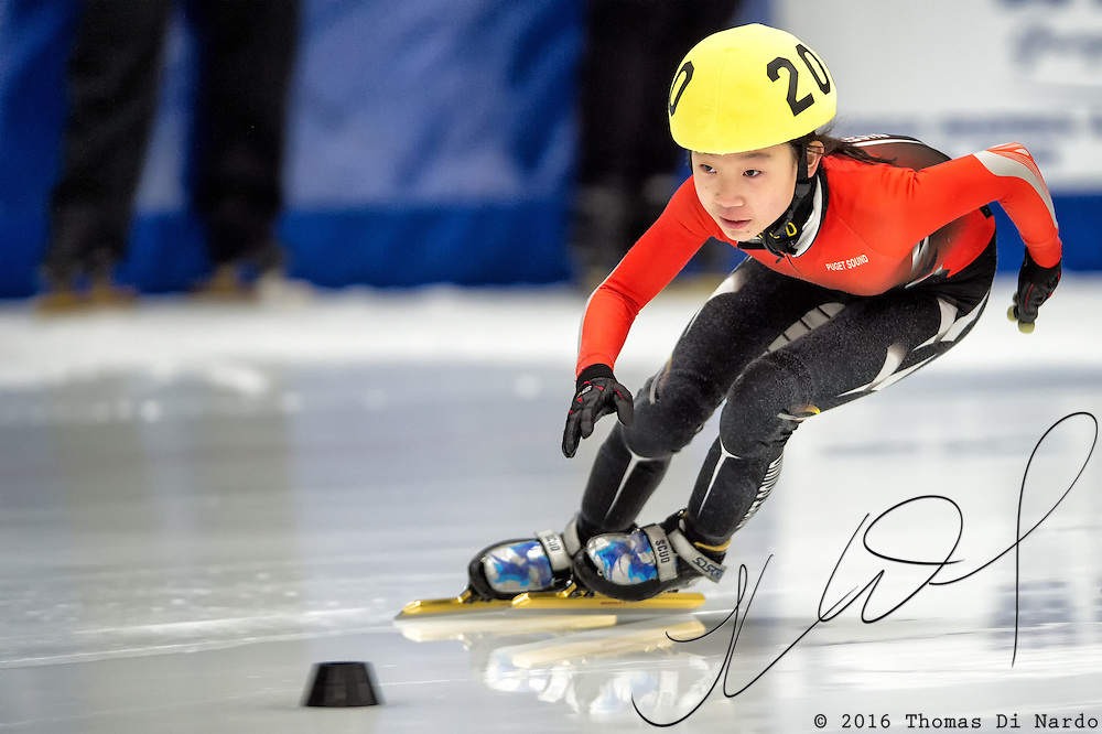 March 19, 2016 - Verona, WI - Eunice Lee, skater number 200 competes in US Speedskating Short Track Age Group Nationals and AmCup Final held at the Verona Ice Arena.