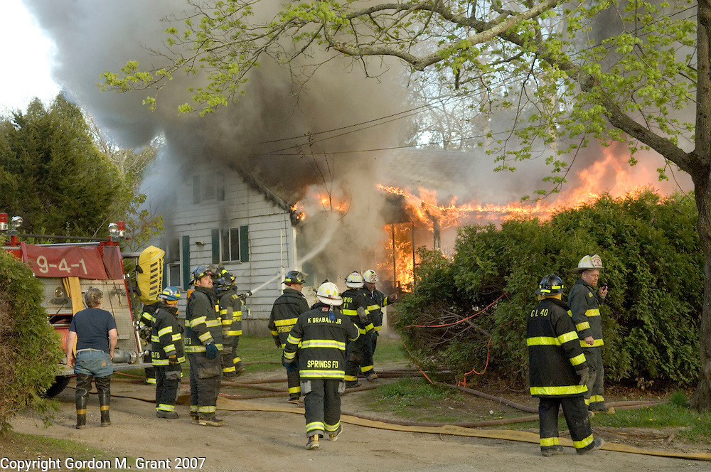 East Hampton, NY - 5/7/07 -   Springs Fire Dept. responded to a structure fire at 176 Three Mile Harbor Road in East Hampton, NY May 7, 2007. PLEASE CONFIRM ADDRESS. East Hampton and Amagansett Fire Dept's also responded    (Photo by Gordon M. Grant)