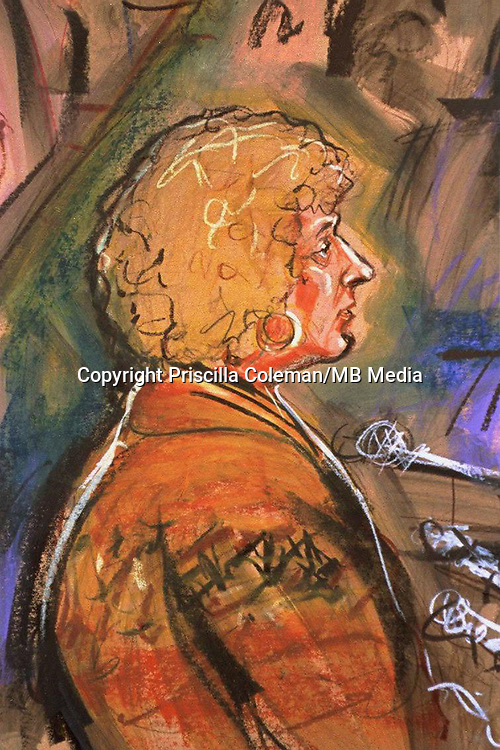 Artist's impression by Priscilla Coleman of Elizabeth Agius during the trial of Rose West at Winchester Crown Court. Rose West was convicted of 10 murders at Winchester Crown Court in November 1995 and is serving life in Holloway prison in north London.