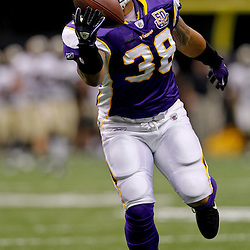 September 9, 2010; New Orleans, LA, USA; Minnesota Vikings running back Naufahu Tahi (38) during warm ups prior to kickoff of the NFL Kickoff season opener at the Louisiana Superdome. The New Orleans Saints defeated the Minnesota Vikings 14-9.  Mandatory Credit: Derick E. Hingle