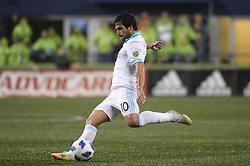 October 8, 2018 - Seattle, Washington, U.S - Seattle midfielder NICO LODEIRO (10) take a shot on goal as the Houston Dynamo visits the Seattle Sounders in a MLS match at Century Link Field in Seattle, WA. Seattle won the match 4-1. (Credit Image: © Jeff Halstead/ZUMA Wire)