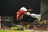 Kenwyne Jones celebrates scoring the first goal of the game for Stoke City.<br />