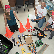 AUGUST 27, 2018--VIEQUES---PUERTO RICO--<br /> From left; Helen Wilson, Maximiliano Ramery, and  Jeronimo Candela, from Mercy Corps, with supplies delivered to VER Community Center.<br /> (Photo by Angel Valentin/Freelance)