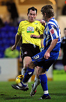 Photo: Dave Linney.<br /> Chester City v Hereford United. Coca Cola League 2. 27/02/2007. Chester's Kevin Sandwith (R) battles with  Steve Guinan for the ball.