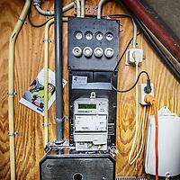 Nederland, Amsterdam, 5 september 2016.<br /> Meterkast in het pand aan KNSM Laan 780-810.<br /> <br /> Foto: Jean-Pierre Jans