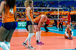 19-10-2018 JPN: Semi Final World Championship Volleyball Women day 18, Yokohama<br /> Serbia - Netherlands / Lonneke Sloetjes #10 of Netherlands, Nicole Koolhaas #22 of Netherlands, Laura Dijkema #14 of Netherlands