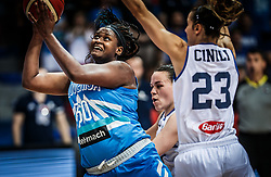 Shante Evans of Slovenia vs Martina Crippa of Italy and Sabrina Cinili of Italy during basketball match between Women National teams of Italy and Slovenia in Group phase of Women's Eurobasket 2019, on June 30, 2019 in Sports Center Cair, Nis, Serbia. Photo by Vid Ponikvar / Sportida