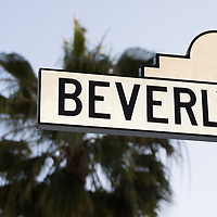 Picture of Beverly Boulevard sign in Beverly Hills California. Beverly Hills is an affluent city in Southern California in the United States.