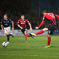 Dundee v St Johnstone....08.11.14   SPFL<br /> Brian Graham scores from the penalty spot to make it 1-1<br /> Picture by Graeme Hart.<br /> Copyright Perthshire Picture Agency<br /> Tel: 01738 623350  Mobile: 07990 594431