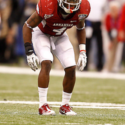 January 4, 2011; New Orleans, LA, USA; Arkansas Razorbacks safety Rudell Crim (4) against the Ohio State Buckeyes during the third quarter of the 2011 Sugar Bowl at the Louisiana Superdome.  Mandatory Credit: Derick E. Hingle