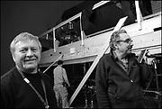 """Russ Engels, Fred Murphy on the set of """"Ghost Town"""" (Dir: David Koepp, 2008)"""