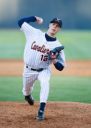 Virginia Cavaliers RHP Jake Cowan (16).  The #24 ranked Virginia Cavaliers baseball team faced the Coastal Carolina Chanticleers at the University of Virginia's Davenport Field in Charlottesville, VA on April 15, 2008.