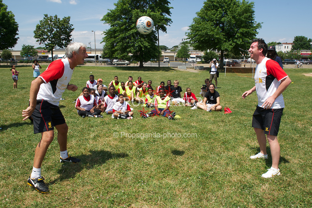 BOSTON, MA - Monday, July 16, 2012: Liverpool's Ian Rush and Robbie Fowler during a soccer clinic to Dorchester Summer Camp children during the club's North American pre-season tour. (Pic by David Rawcliffe/Propaganda)