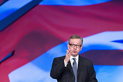 © Licensed to London News Pictures. 09/10/2012. Birmingham , UK . Michael Gove, the Secretary of State for Education, delivers his speech to the conference . Day 3 of the Conservative Party Conference at the International Convention Centre in Birmingham . Photo credit : Joel Goodman/LNP