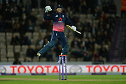 Jonny Bairstow leaps in the air to celebrate his century during the One Day International match between England and West Indies at the Ageas Bowl, Southampton, United Kingdom on 29 September 2017. Photo by Dave Vokes.