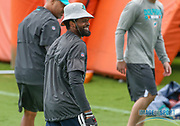 Miami Dolphins quality control coach Tiquan Underwood smiles during Minicamp at the Baptist Health Training Facility at Nova Southeastern University, Wednesday, June 5, 2019 in Davie, Fla. (Kim Hukari/Image of Sport)
