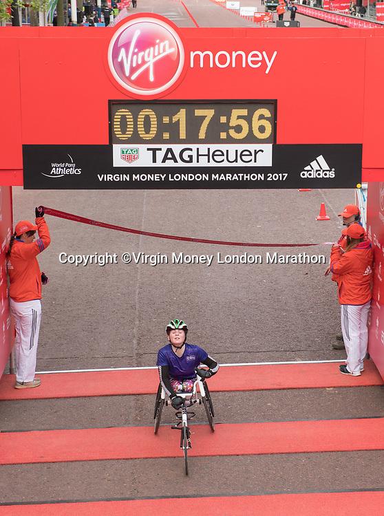 Winner of the U14 Wheelchair Race. The Virgin Money London Marathon, 23rd April 2017.<br /> <br /> Photo: Thomas Lovelock for Virgin Money London Marathon<br /> <br /> For further information: media@londonmarathonevents.co.uk