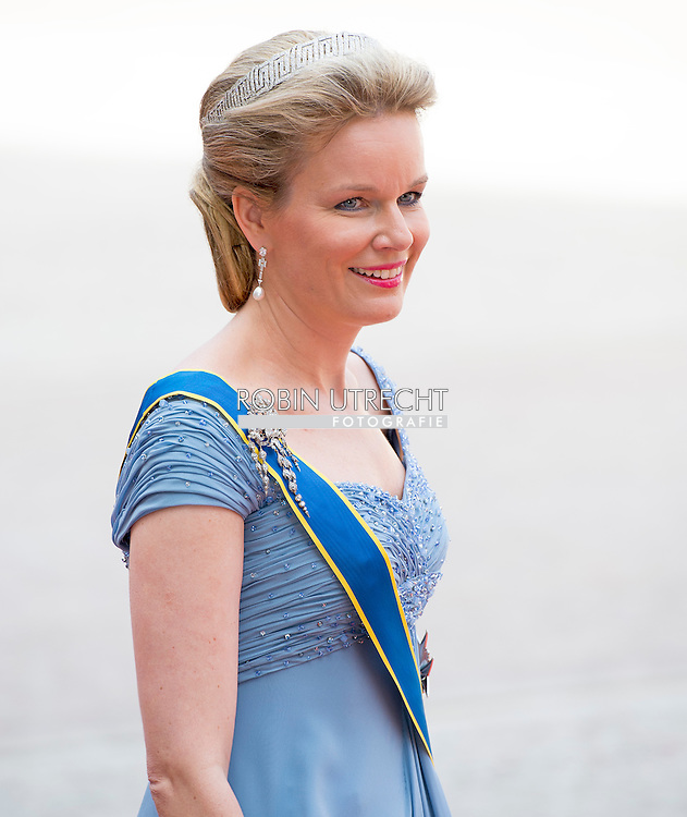 13-6-2015 STOCKHOLM   Queen Malthilde from Belgium arrival of  for  .The wedding of Prince Carl Philip and Sofia Hellqvist  at the  Royal palace in Stockholm .COPYRIGHT ROBIN UTRECHT