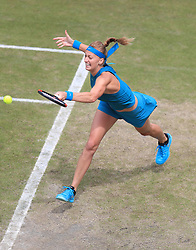 Petra Kvitova in action against Mihaela Buzarnescu during their semi final match on day six of the Nature Valley Classic at Edgbaston Priory, Birmingham.
