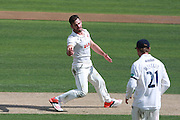 Essex captain Ryan ten Doeschate celebrates after taking the wicket of Sussex batsman Chris Nash during the Specsavers County Champ Div 2 match between Sussex County Cricket Club and Essex County Cricket Club at the 1st Central County Ground, Hove, United Kingdom on 17 April 2016. Photo by Bennett Dean.