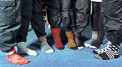 Pictured: <br /> Police officers at Boston Police Station were on their toes to support the Odd-Socks anti-bullying campaign.  The Bobby-soxers need to protect those feet as winter heads their way.<br /> <br /> <br /> James Sullivan| EEm 12 November 2018