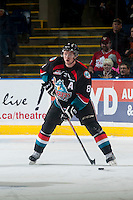 KELOWNA, CANADA - DECEMBER 5: Colten Martin #8 of Kelowna Rockets skates with the puck against the Prince George Cougars on December 5, 2014 at Prospera Place in Kelowna, British Columbia, Canada.  (Photo by Marissa Baecker/Shoot the Breeze)  *** Local Caption *** Colten Martin;