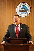 Paul LePage, while Mayor of Waterville, Maine and the GOP candidate for governor of Maine speaks during an event honoring the 20 year relationship between the town of Waterville and their sister town of Kotaac, Russia on Tuesday, June 22, 2010. Craig Dilger for The New York Times.