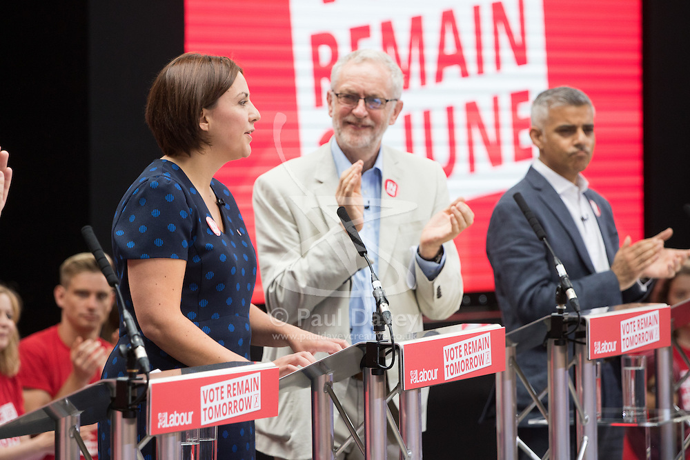 Kings Cross, London, June 22nd 2016. A final rally by members of the Labour Party's Vote Remain team is held in King's Cross, bringing London mayor Sadiq Khan, Welsh first minister Carwyn Jones, Labour In For Britain head Alan Johnson and Scottish leader Kezia Dugdale and Party Leader Jeremy Corbyn in a show of unity as they express the importance of a Remain vote. PICTURED: Labour Leader Jeremy Corbyn applauds Scottish Labour leader Kezia Dugdale after she had addressed the crowd.