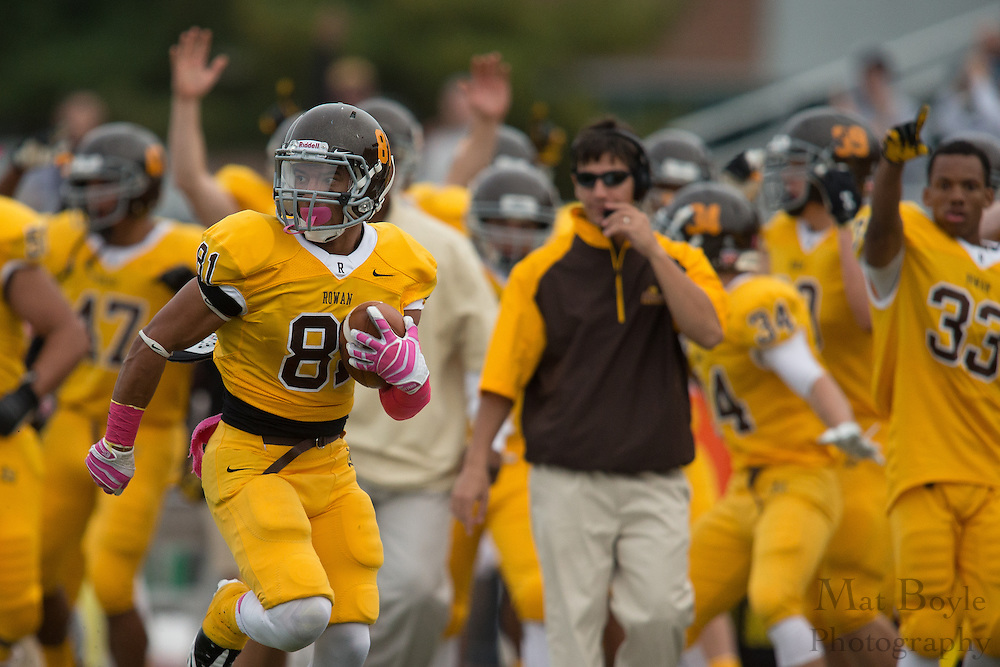Rowan University Sophomore WR Frankie Goris (81) -  Rowan University Football vs Wesley College at Richard Wacker Stadium in Glassboro, NJ on Saturday October 19, 2013. (photo / Mat Boyle)