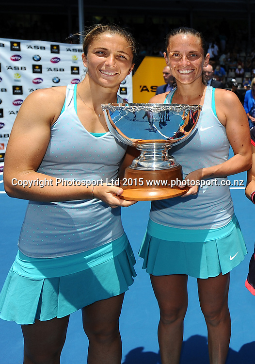 Italian player Sara Errani and Roberta Vinci after winning their Doubles Finals match against Japanese player Shuko Aoyama and Czech player Renata Voracova at the ASB Classic Women's International. ASB Tennis Centre, Auckland, New Zealand. Saturday 10 January 2015. Copyright photo: Chris Symes/www.photosport.co.nz