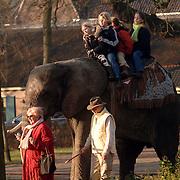 NLD/Laren/20060114 - Kinderen kunnen op de rug van een olifant een ritje maken door het centrum van Laren, op de rug de dochters van Ferdi en Marion Bolland, Robin en Tess