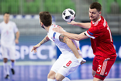 Dominik Solecki of Poland and Sergei Abramovich of Russia during futsal match between Russia and Poland at Day 1 of UEFA Futsal EURO 2018, on January 30, 2018 in Arena Stozice, Ljubljana, Slovenia. Photo by Urban Urbanc / Sportida