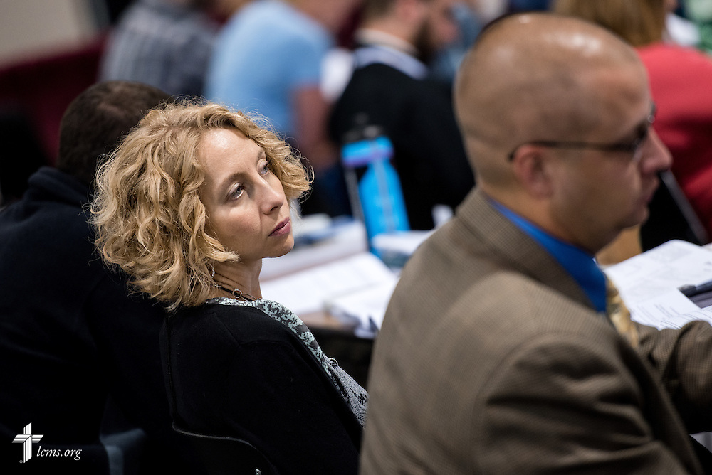 Delegates listen Tuesday, July 12, 2016, at the 66th Regular Convention of The Lutheran Church–Missouri Synod, in Milwaukee. LCMS/Michael Schuermann