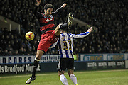 James Perch (QPR) jumps for the ball during the Sky Bet Championship match between Sheffield Wednesday and Queens Park Rangers at Hillsborough, Sheffield, England on 23 February 2016. Photo by Mark P Doherty.