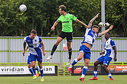 Forest Green Rovers Christian Doidge(9) heads the ball scores a goal but disallowed during the Pre-Season Friendly match between Forest Green Rovers and Bristol Rovers at the New Lawn, Forest Green, United Kingdom on 21 July 2018. Picture by Shane Healey.