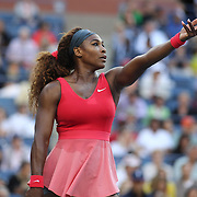 Serena Williams, USA, in action during her victory over Li Na, China, in the Women's Singles Semi Final at the US Open. Flushing. New York, USA. 6th September 2013. Photo Tim Clayton