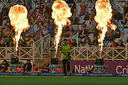 Four pyros during the NatWest T20 Blast Quarter Final match between Notts Outlaws and Somerset County Cricket Club at Trent Bridge, West Bridgford, United Kingdom on 24 August 2017. Photo by Simon Trafford.